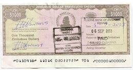 Zimbabwe Dollar Travellers Cheque $1 000 Check 2003 P15 $1000 - Rare Version 2 - Zimbabwe