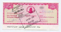 Zimbabwe Dollar Travellers Cheque $5 000 Check 2003 P16 $5000 - Rare - Zimbabwe