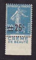 PUBLICITE: SEMEUSE 25C SUR 30C BLEU CREME DE BEAUTE ACCP 213 NEUVE** - Advertising