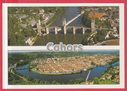 CPM-46- CAHORS - Vue Aérienne Et Pont Valentré - SUP**2 SCANS - Cahors