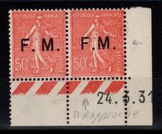 FM - Variété YV 6c N** Petit Coin Daté Avec Un Normal , Signé , Bon Centrage Cote 25+ Euros - Franchise Militaire (timbres)