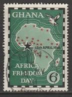 "Ghana 1961 Africa Freedom Day - Overprinted ""15th APRIL 1961"" 6 P Multicoloured  SW 95 O Used - Ghana (1957-...)"