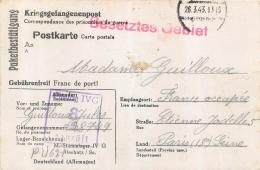 CARTE ACCUSE RECEPTION COLIS PRISONNIER DE GUERRE STALAG IV G  CACHET BESETZTES GEBIET TERRITOIRE OCCUPE 1943 - Postmark Collection (Covers)