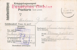CARTE ACCUSE RECEPTION COLIS PRISONNIER DE GUERRE STALAG IV G  CACHET BESETZTES GEBIET TERRITOIRE OCCUPE 1941 - Postmark Collection (Covers)