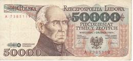 BILLETE DE POLONIA DE 50000 ZLOTYCH DEL AÑO 1989 (BANKNOTE) - Pologne