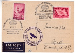 M350 Budapest 72 1948 XII.18. Day Of Friendship Between Hungarian And Soviet Philatelists By Special Airmail Flight Vol - Poste Aérienne