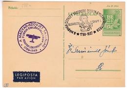 M351 Exposition Commémorative Pouchkine Budapest 1949 VI.6. Pushkin Memorial Exhibition By Special Airmail Flight Vol - Poste Aérienne