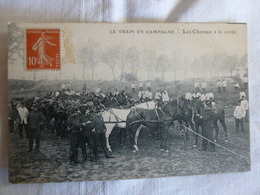 LES CHEVAUX A LA  CORDE  -  Le Train Des équipages En  Campagne - Manoeuvres