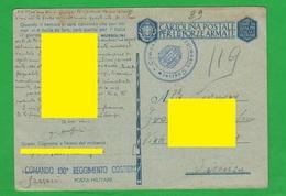 Sassari Sardegna X Vicenza Posta Militare 130° Reggimento COSTIERO 1942 Franchigia Militare - 1900-44 Victor Emmanuel III