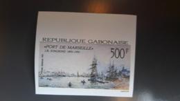GABON 1991 JOHAN BARTHOLD PORT DE MARSEILLE BATEAUX SHIPS - IMPERF IMPERFORATE ND NON DENTELE - RARE MNH - Gabon (1960-...)