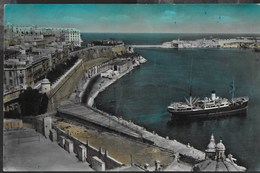 MALTA - BASTIONI DI VALLETTA NAVE - FORMATO PICCOLO -  VIAGGIATA 1956 FRANCOBOLLO ASPORTATO - Malta