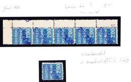 Colis Postal Encombrant 5-er Streifen + Einzelstück; 2 Franc Blau Mit Nummernaufdruck Und Handschriflichem 0.60 - Colis Postaux
