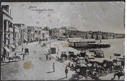 MALTA - SLIEMA LANDING PLACE - FORMATO PICCOLO FINE '800 -ANIMATA -   VIAGGIATA 1908 FRANCOBOLLO ASPORTATO - Malta