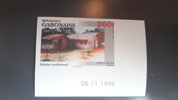 GABON 1996 HABITAT TRADITIONNEL TRADITIONAL HOUSING HOUSE HOUSES - IMPERF IMPERFORATE ND NON DENTELE - RARE MNH - Gabon (1960-...)