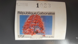 GABON 1991 BOULE DE FEU FLOWERS FLEURS ARBRES FRUITS ROSES - IMPERF IMPERFORATE ND NON DENTELE - RARE MNH - Gabon (1960-...)