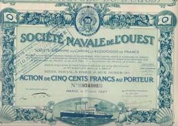 SOCIETE NAVALE DE L'OUEST - PART BENEFICIAIRE + OBLIGATION 200 FRS + ACTION DE 500 FRS -1921-1923 - Navigation