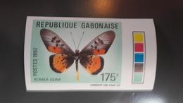 GABON 1992 PAPILLONS PAPILLON BUTTERFLY BUTTERFLIES - IMPERF IMPERFORATE ND NON DENTELE - RARE MNH - Gabon (1960-...)