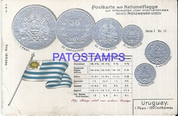 101218 URUGUAY ART EMBOSSED FLAG & COIN BREAK  POSTAL POSTCARD - Uruguay