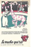 """Buvard LA VACHE QUI RIT Série """"Le Cirque"""" N°6 / Fromagerie Bel / Illustrateur Alain Saint Ogan / Girafe, Clowns - Produits Laitiers"""