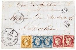 1853 Faltbrief Doppeltes Gewicht Von Jarnac Nach New Orleans; Mischfrankatur Ceres Und Napoleon; Einige Schnittmängel; - 1853-1860 Napoleon III