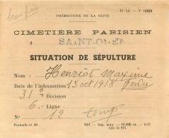 CIMETIERE PARISIEN SITUATION DE SEPULTURE SAINT OUEN 15 OCTOBRE 1918 - France
