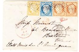 Brief Von Nice Nach Boston; 4 Gezähnte Marken Mit Nummernstempel 2656 - 1871-1875 Cérès
