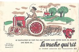 """Buvard LA VACHE QUI RIT Série """"Les Métiers"""" N°7 / Fromagerie Bel / Illustrateur Hervé BORNE / Tracteur, Charrue, Paysan - Produits Laitiers"""