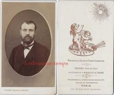 Joli Dos De CDV Avec Anges Beau -portrait D'homme Par Piquée  Peintre Et Photographe à Troyes,  Et Rumilly-TB état - Oud (voor 1900)