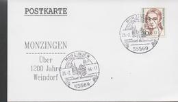 3329 Tarjeta Monzingen 1994,  ,Uber 1200 Jahre Weindorf ,Más De 1200 Años De Villa Vinícola., Viña, Vino, Licor - [7] République Fédérale
