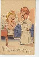 """ENFANTS - Jolie Carte Fantaisie Enfants Jouant Au Docteur """"Je Crois Que C'est Une Appendicite De La Gorge """" - Dessins D'enfants"""