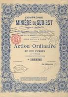 ACTION ORDINAIRE DE 100 FRS - COMPAGNIE MINIERE DU SUD EST - 1923 - Mines