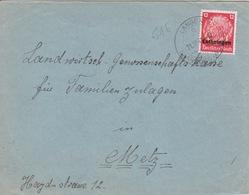 Lettre De Langatte (T 334 Langen A über Saarburg Westm) TP Lothr 12pf=1°éch Le 21/10/41 (hors Date) Pour Metz - Postmark Collection (Covers)