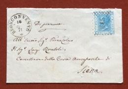BUONCONVENTO + Punti Su 20 C. SU BUSTINA(BIGLIETTO DA VISITA) PER SIENA IN DATA 15/11/71 - 1861-78 Vittorio Emanuele II