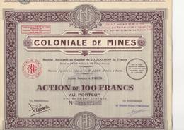 LOT DE 3 ACTION  DE 100 FRS - COLONIALE DE MINES - ANNEE 1929 - Mines