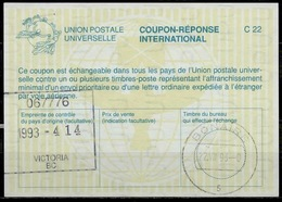 CANADA La26 International Reply Coupon Reponse Antwortschein IAS IRC O VICTORIA BC 14.4.93 Redeemed BONAIRE Dutch Antill - Antwortcoupons
