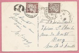 Sur CP ROYAT ( 63 ) - De ROYAT Pour NANCY - Timbres Taxe 10 Cent + 1 Cent - 1859-1955 Lettres & Documents