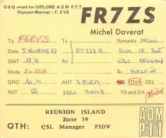 CARTE QSL - RADIO AMATEUR - ILE DE LA REUNION -  1977 - Amateurfunk