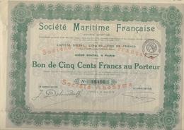 BON DE 500 FRANCS - SOCIETE MARITIME FRANCAISE - ANNEE 1918 - Scheepsverkeer