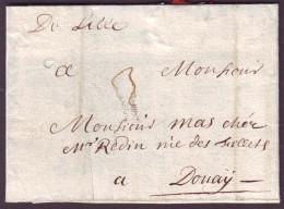 "NORD - LAC - ""De Lille"" Manuscrite L1A (1709) + Taxe 3 Pour Douay (57) - Postmark Collection (Covers)"