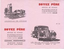 Buvard Soyez Père Voiture Citroën Traction 15/6 Automobile - Locomotive De Stevens - Maroquinerie Lille, Rare - M