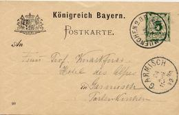 (Lo2660) Altdeutschland Ganzs. St. München 2 BP N. Garmisch - Brieven
