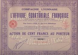 LOT DE 3 ACTIONS - COMPAGNIE LYONNAISE DE L'AFRIQUE EQUATORIALE FRANCAISE -1928 - Afrique