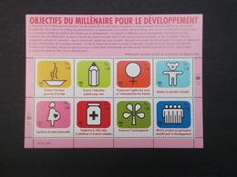 SERIE DE 8 TIMBRES : OBJECTIFS DU MILLENAIRE POUR LE DEVELOPPEMENT - Neufs