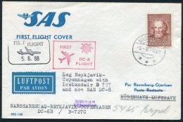 1968 Denmark Iceland Greenland SAS First Flight Cover. Slania - Greenland