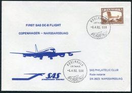 1982 Greenland Denmark SAS First Flight Cover. Slania Aircraft - Greenland