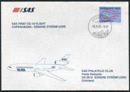 1987 Greenland Denmark SAS First Flight Cover. - Greenland