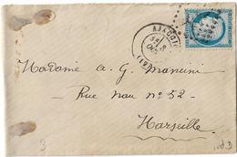 GC 45 AJACCIO CORSE  TYPE 17 CERES 25c - Marcophilie (Lettres)