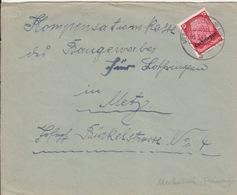 Lettre De Merlebach (T 325 Merlebach-Freimingen 1 A) TP Lothr 12pf=1°éch Le 3/3/41 Pour Metz - Postmark Collection (Covers)