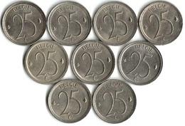 Lot 9 Pièces De Monnaie 25 Centimes Belgique NLD - 02. 25 Centimes