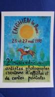 CPM ILLUSTRATEUR J GENS CAVALIER COURSES ENGHIEN LES BAINS 1990 2 EME RENCONTRE ARTISTES HIPPODROME 1990 N° 281 / 1000 - Illustratoren & Fotografen